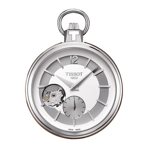 Tissot Pocket Mechanical Skeleton 49MM Case Watch with White Dial in Stainless Steel -T8544051903700