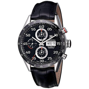 Tag Heuer Carrera Calibre 16 Chronograph 43MM Case Watch Black Dial with Black Leather Band -CV2A10FC6235