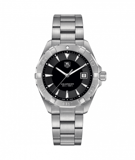 Tag Heuer Aquaracer Quartz 40.5MM Case Black Dial Watch in Polished & Brushed Stainless Steel  - CV1A10BA0799