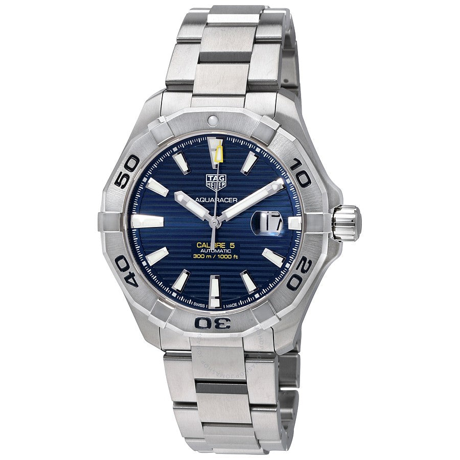 Tag Heuer Aquaracer Calibre 5 43MM Case Blue Dial Watch in Polished & Brushed Stainless Steel  - WAY2012BA0927