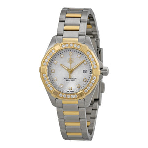 Tag Heuer Aquaracer Quartz 27MM Diamond Accented Case Watch in Stainless Steel & Yellow Gold  -WAY1453BD0922