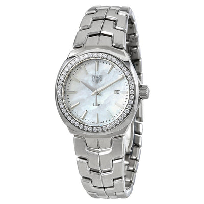Tag Heuer Link Quartz 32MM Case Watch with White Mother of Pearl Dial & Diamond Bezel - WBC1314BA0600