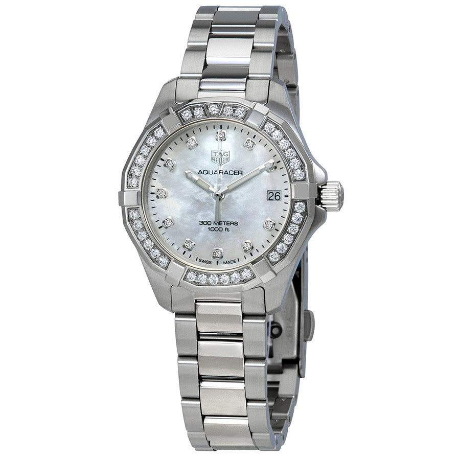 Tag Heuer Aquaracer Quartz 32MM Case Watch with White Mother of Pearl Dial with Diamond Accents - WBD1315BA0740