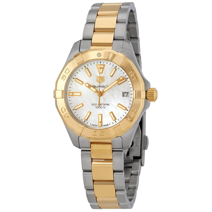 Tag Heuer Aquaracer Quartz 32MM Case Watch with White Mother of Pearl Dial in Two-Tone Stainless Steel - WBD1320BB0320