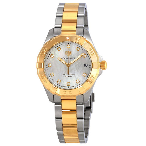 Tag Heuer Aquaracer Quartz 32MM Case Watch with White Mother of Pearl Diamond Dial in 18K Gold Plated Bezel & Stainless Steel- WBD1322BB0320