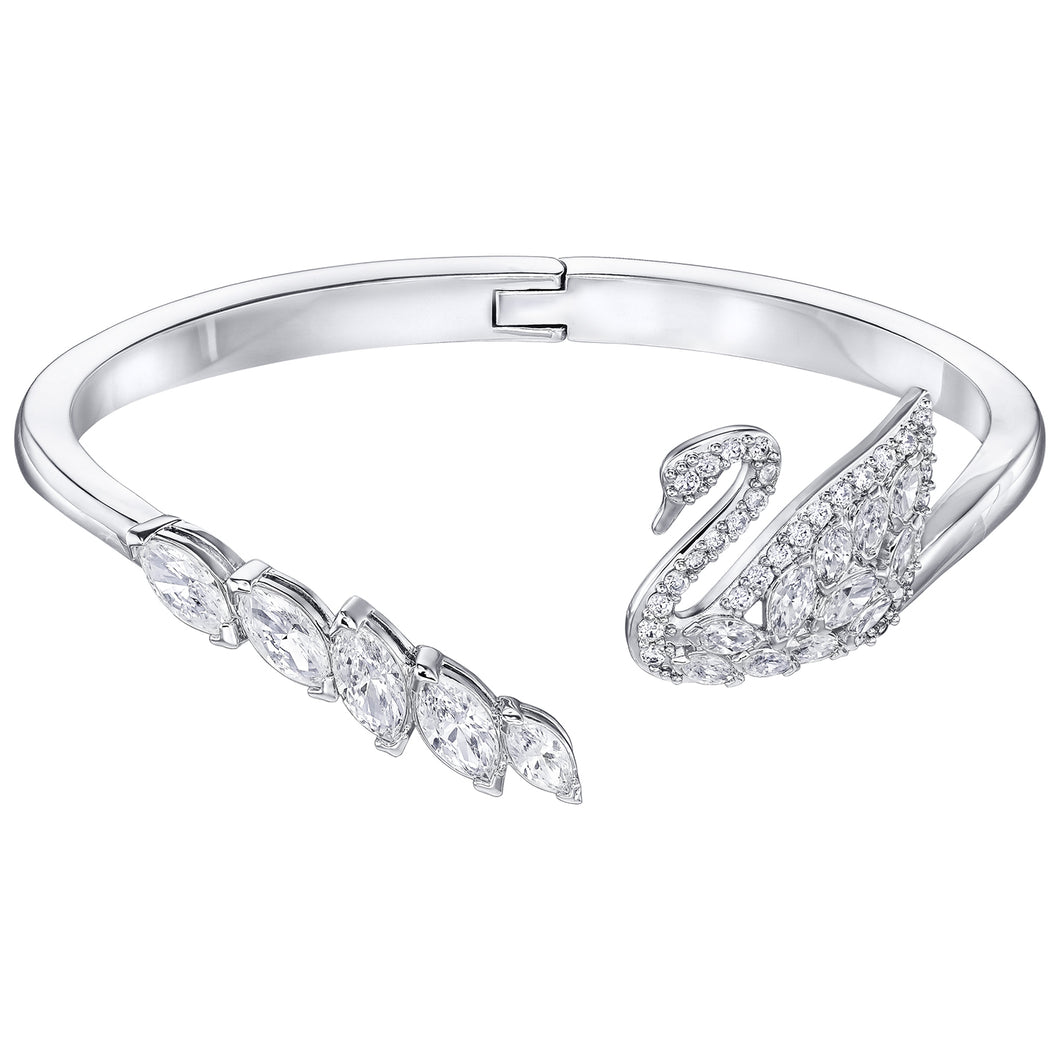 SWAROVSKI  'Swan Lake'  White Crystal Bangle Bracelet in Rhodium Plating - 5258396