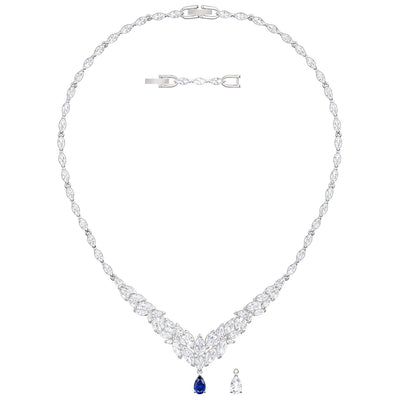SWAROVSKI 'Louison' White & Blue Interchangeable Crystal Necklace in Rhodium Plating - 5419234