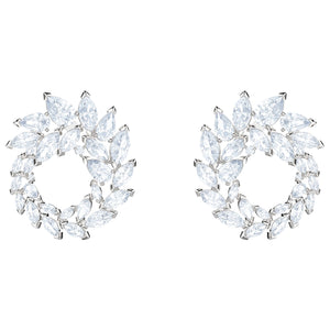 SWAROVSKI 'Louison' White Marquise Crystal Wreath Earrings in Rhodium Plating - 5419245