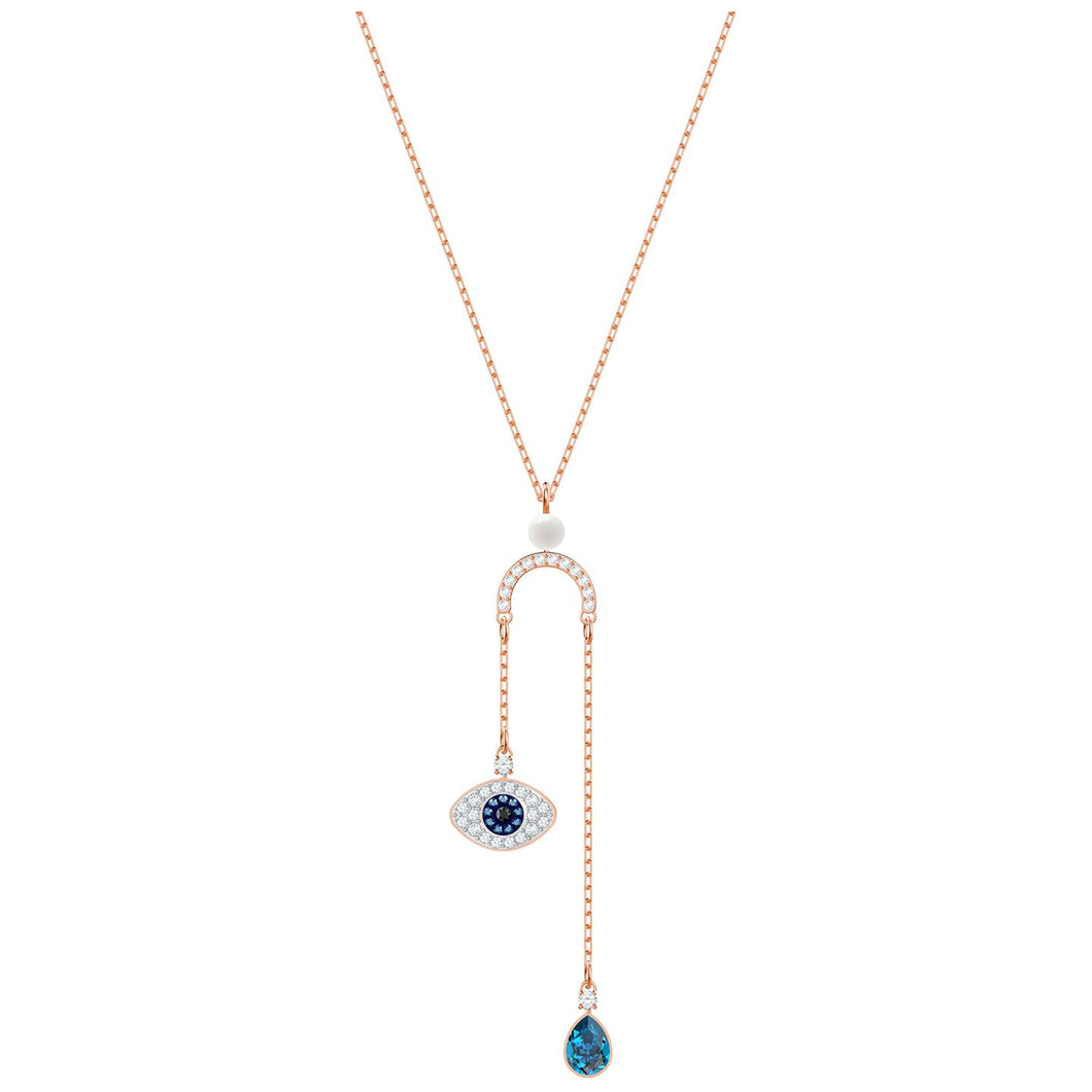 SWAROVSKI 'Symbolic' Multi-Colored Crystal Evil Eye Y-Necklace in Rose-Gold Tone Plating - 5425861