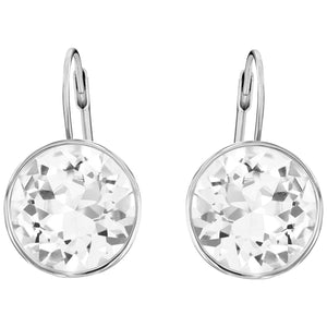 SWAROVSKI 'Bella' White Bezel Crystal Earrings in Rhodium Plating - 883551