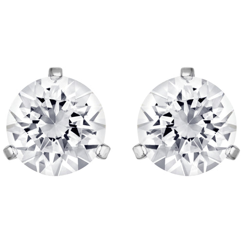 SWAROVSKI 'Solitaire' White Round Crystal Earrings in Rhodium Plating - 1800046