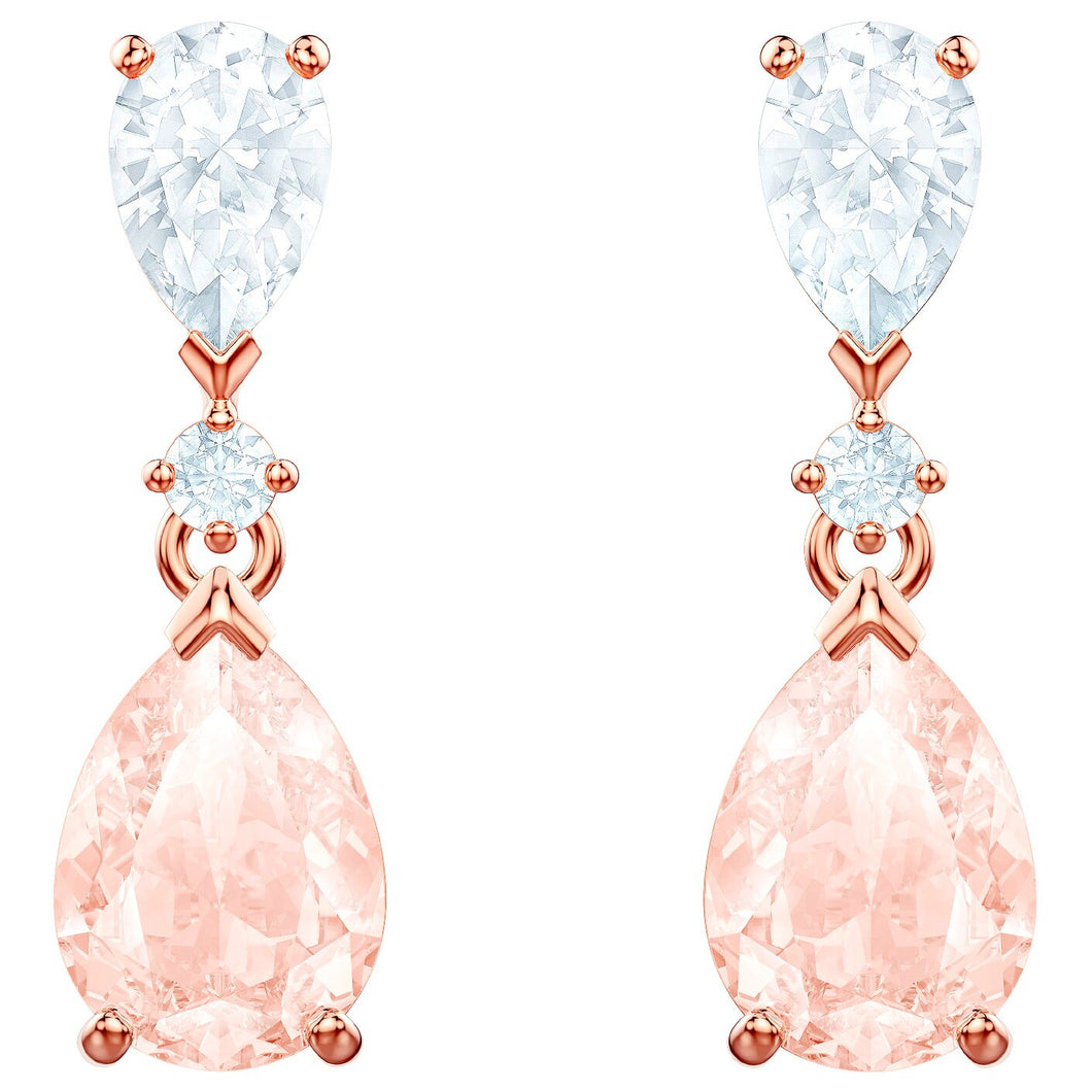 SWAROVSKI 'Vintage' Pink & White Crystal Earrings in Rose-Gold Tone Plating - 5466888