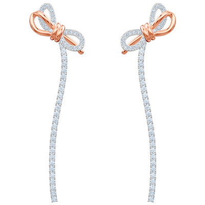SWAROVSKI 'Lifelong Bow' Long Length White Crystal Earrings in Mixed Metal Finish - 5447083