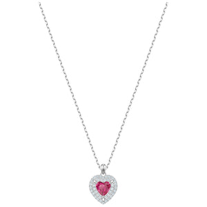 SWAROVSKI 'One' Red Crystal Heart Necklace in Rhodium Plating - 5446301