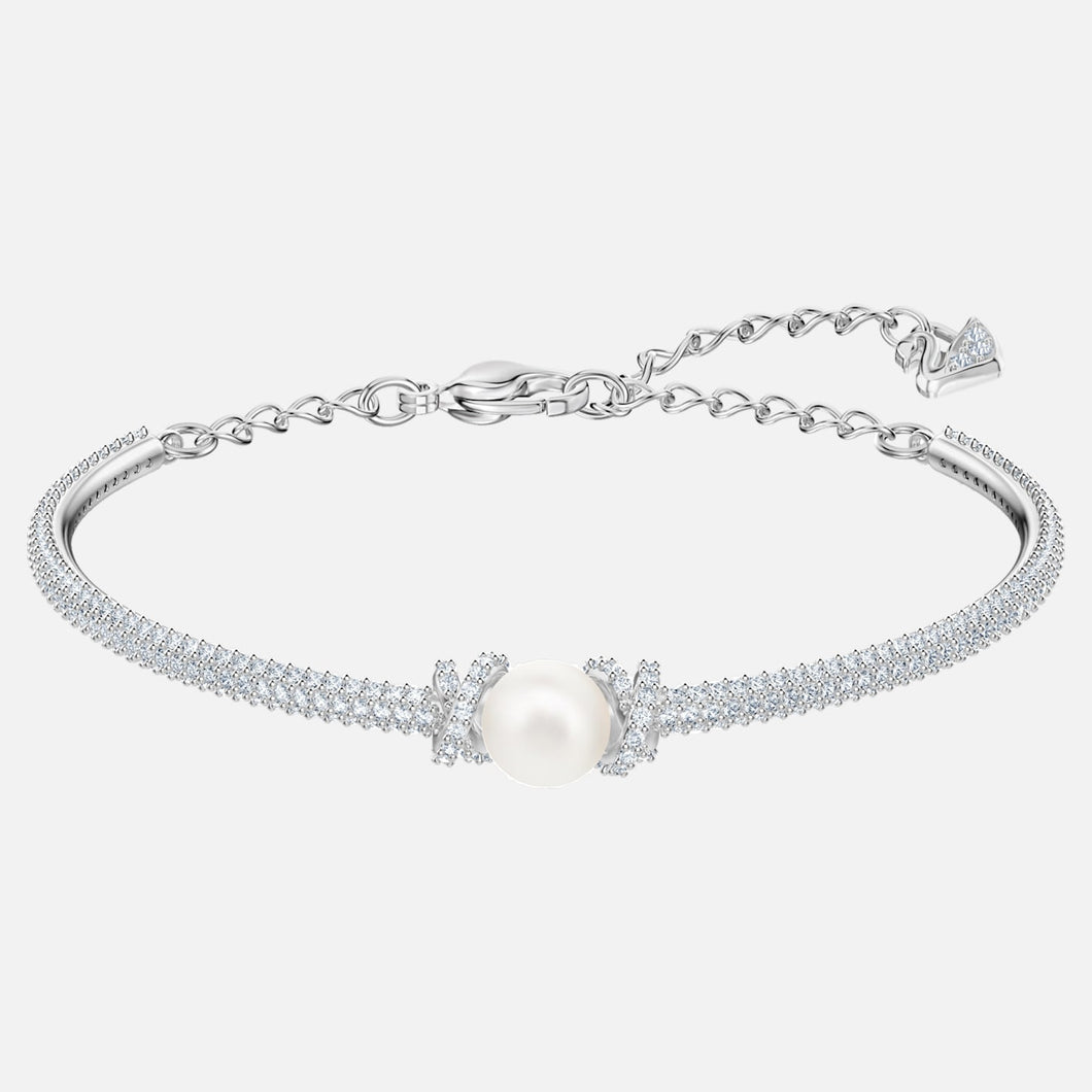 SWAROVSKI 'Originally' Pearl & White Crystal Adjustable Bracelet in Rhodium Plating - 5461083