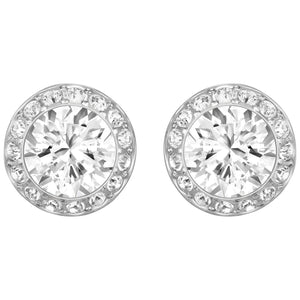 SWAROVSKI 'Angelic' White Crystal Halo Earrings in Rhodium Plating - 1081942