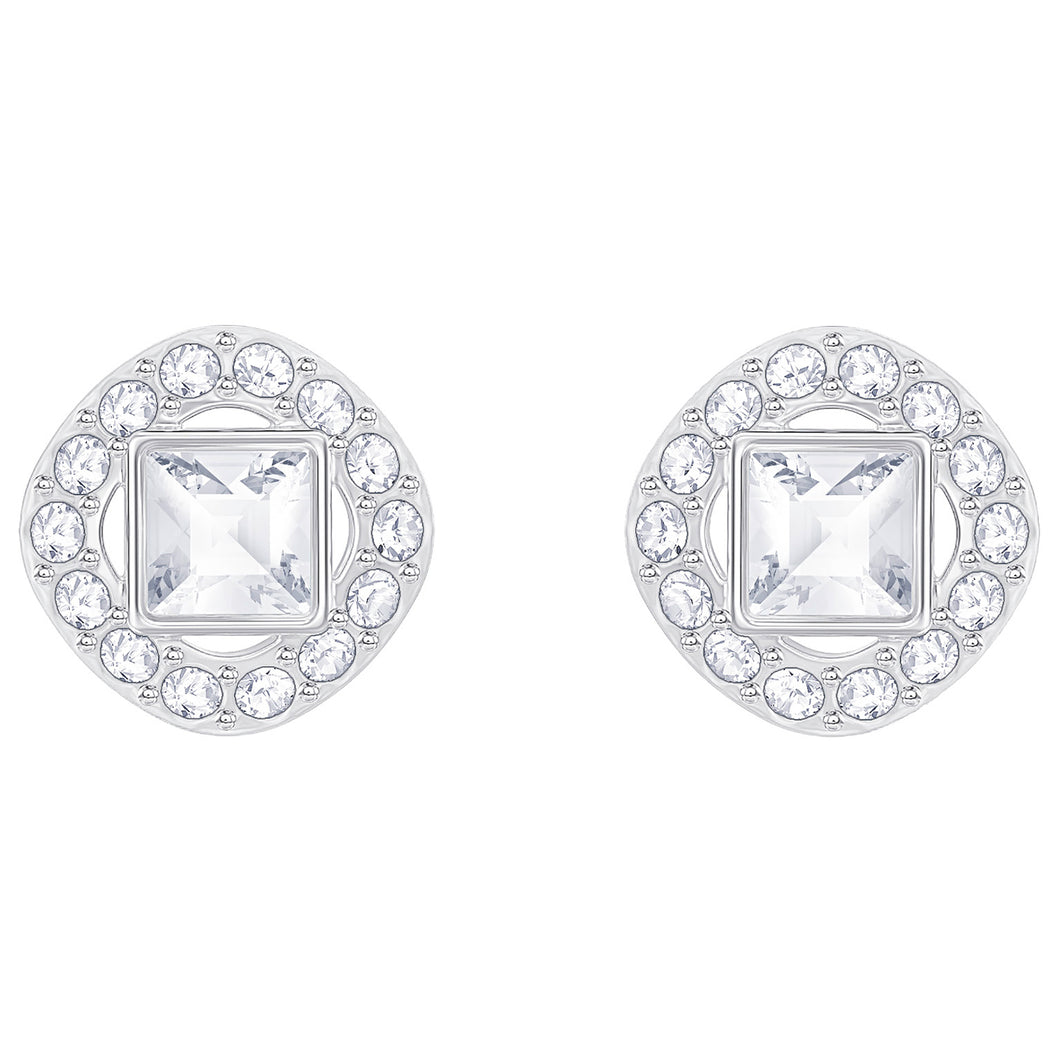 SWAROVSKI 'Angelic' White Square Crystal Halo Earrings in Rhodium Plating - 5368146