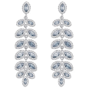 SWAROVSKI 'Baron'  Blue Crystal Dangle Earrings in Rhodium Plating -5074350