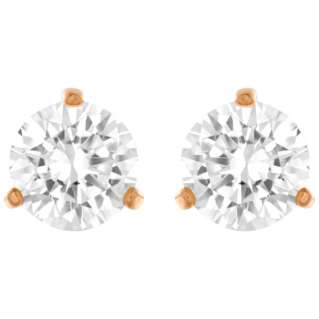 SWAROVSKI 'Solitaire' Round White Crystal Earrings in Rose-Gold Tone Plating - 5112156