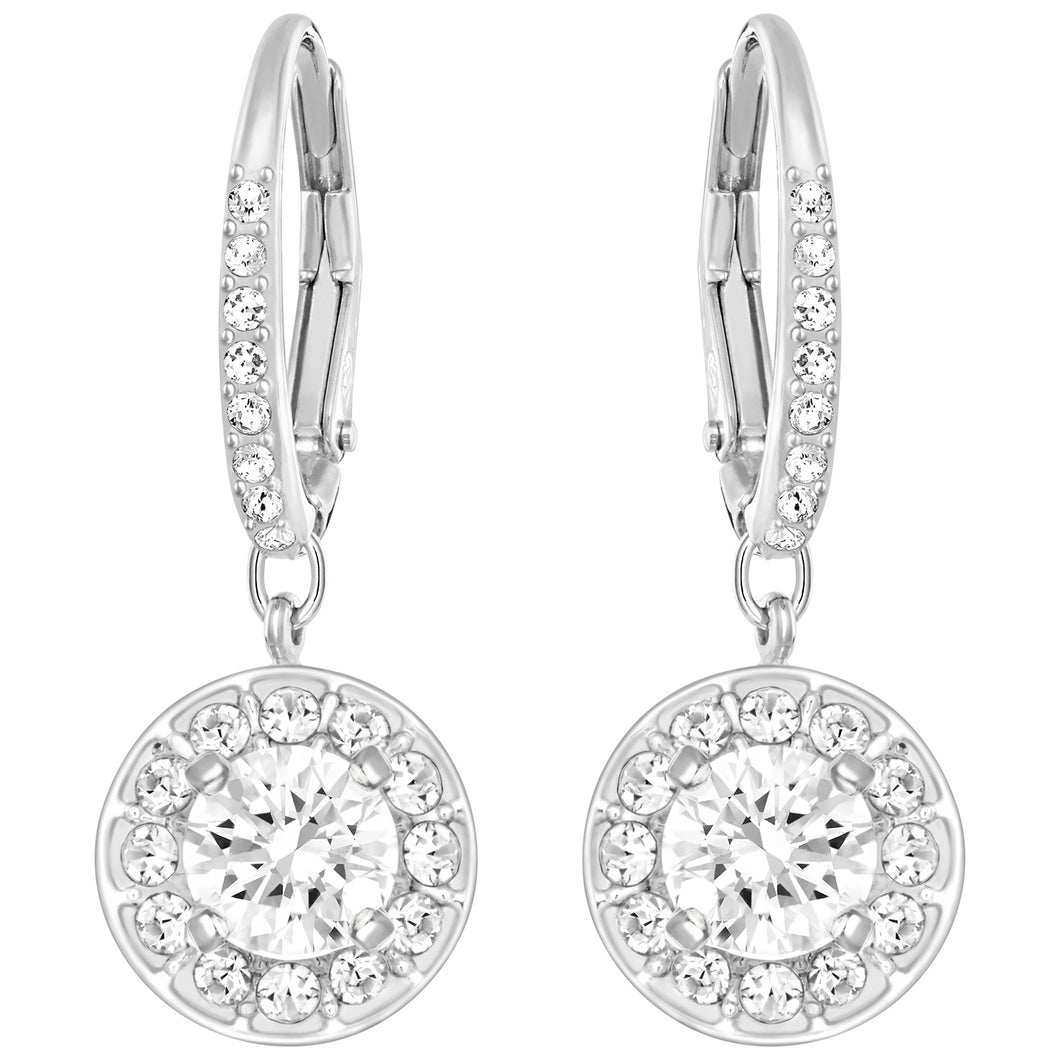 SWAROVSKI 'Attract' White Pavé Crystal Halo Dangle Earrings in Rhodium Plating - 5142721