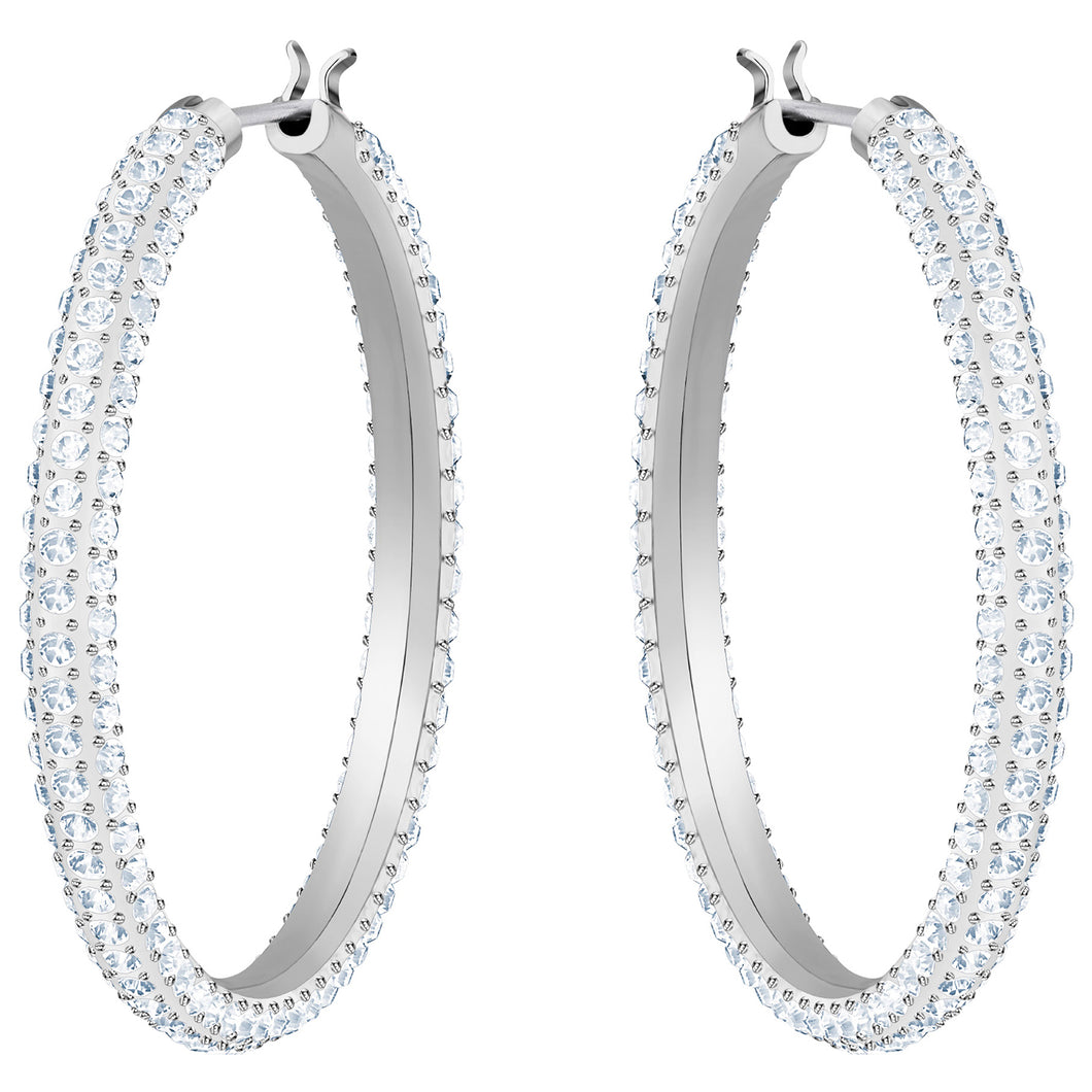 SWAROVSKI 'Stone' White Crystal Hoop Earring in Rhodium Plating - 5389432