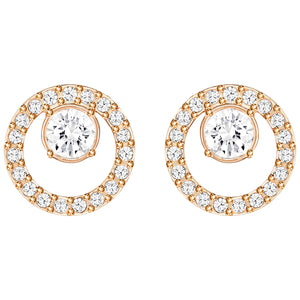 SWAROVSKI 'Creativity' Silhouette Circle White Crystal Earring in Rose-Gold Tone Plating- 5199827