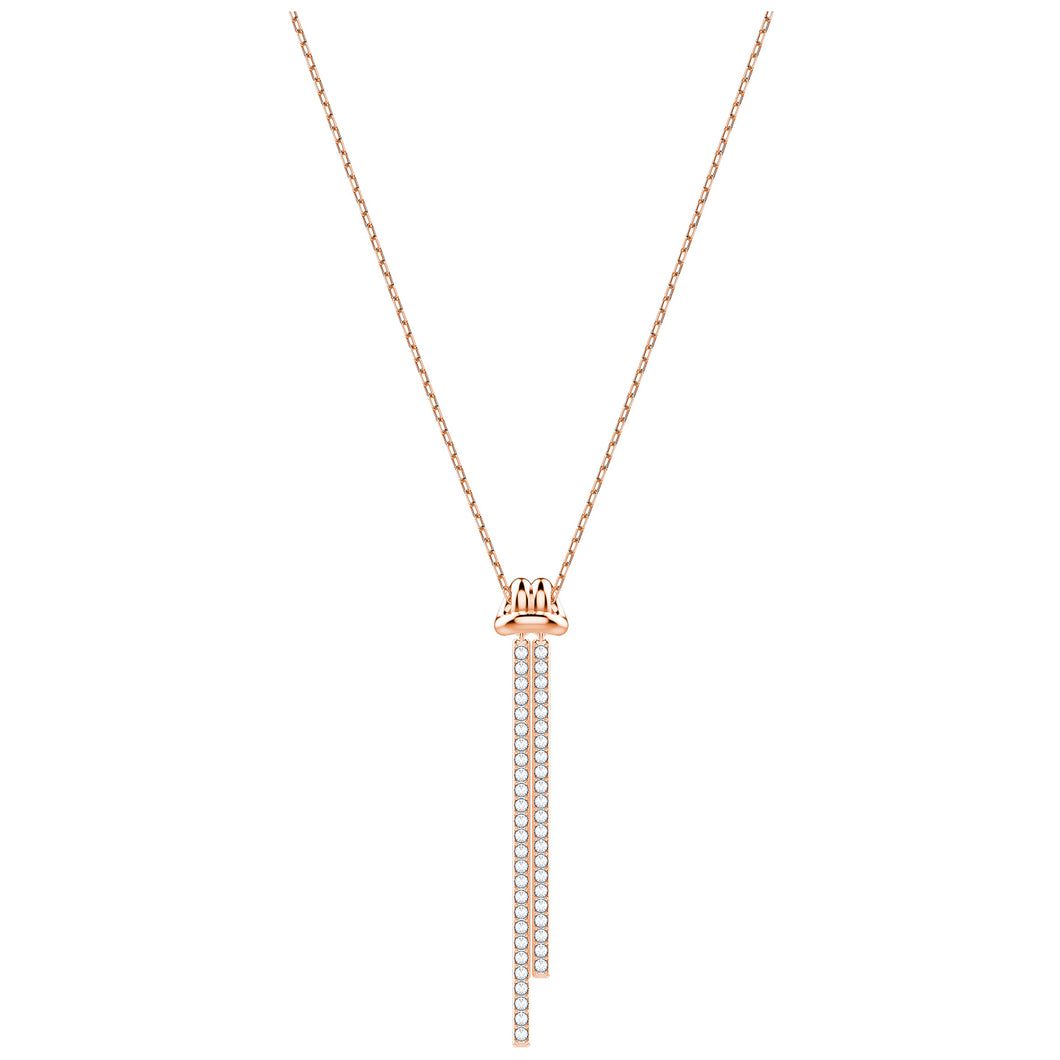 SWAROVSKI 'Lifelong Bow' Pavé Y-Pendant Necklace in Rose-Gold Tone Plating - 5390817