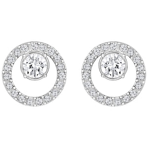 SWAROVSKI 'Creativity' Silhouette Circle White Crystal Earring in Rhodium Plating- 5201707