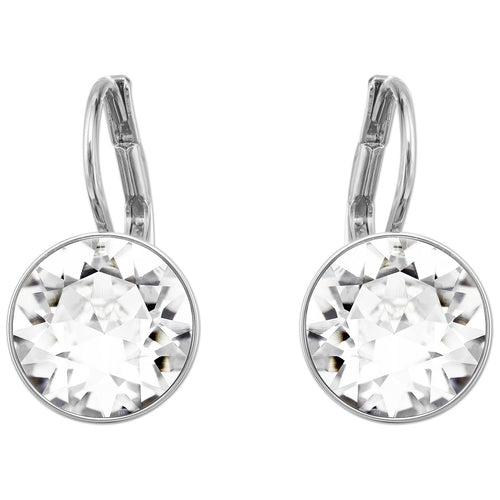 SWAROVSKI 'Bella' White Bezel Crystal Earrings in Rhodium Plating - 5085608