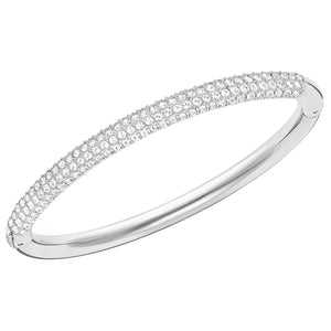 SWAROVSKI 'Stone' White Pavé Bangle Bracelet in Rhodium Plating - 5032846