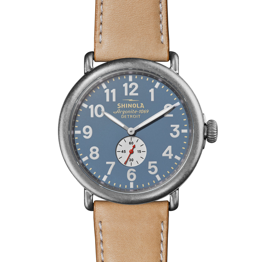 Shinola Men's Tan Leather Band Runwell Watch with Blue Dial 47mm - S0120141506