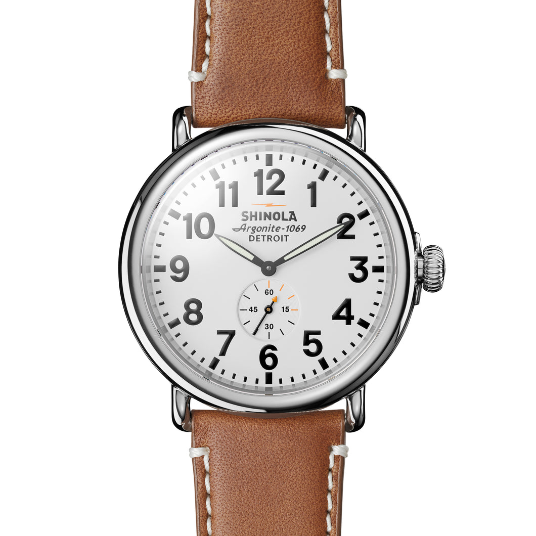Shinola Men's Brown Leather White Dial 47mm Watch - S0110000010