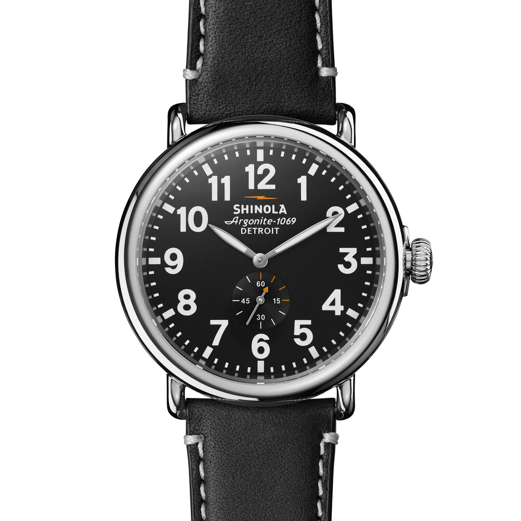 Shinola The Runwell Black Leather Strap with Black Dial Mens 47mm Watch - S0110000012