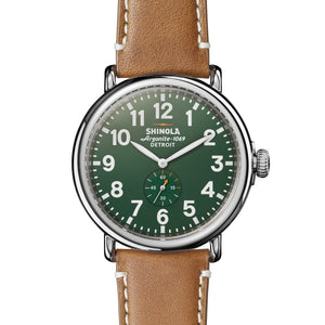 Shinola The Runwell Maple Leather Strap Green Dial Mens 47mm Watch - S0110000038