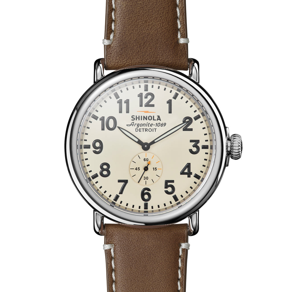 Shinola The Runwell 47mm Brown Leather Strap Cream Dial Mens Watch - S0100039