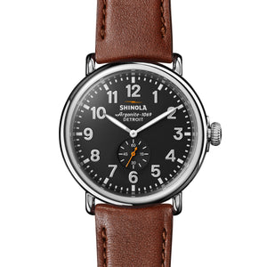 Shinola The Runwell 47mm Brown Leather with Black Dial Mens Watch - S0120018330