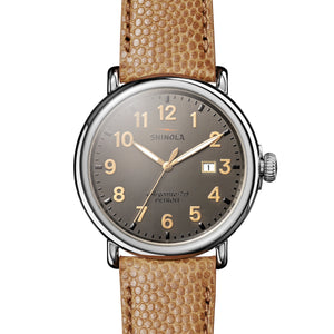 Shinola The Runwell Chronograph 47mm Dark Brown Camel Leather Strap Mens Watch - S0120044137