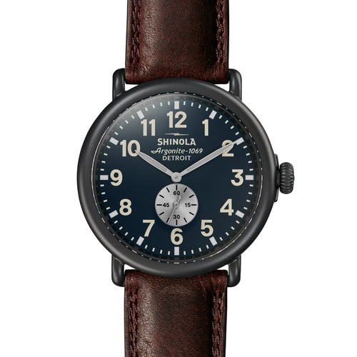 Shinola The Runwell 47mm Gunmetal Midnight Blue Dial Mens Watch - S0120065287