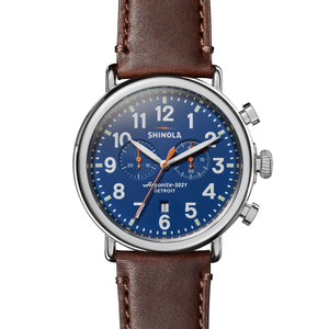 Shinola The Runwell Chronograph 47mm Dark Brown Leather Strap Royal Blue Dial Mens Watch - S0110000047