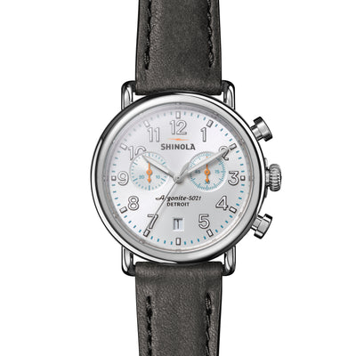 Shinola The Runwell Chronograph 41mm Blue Dial Black Leather Mens Watch - S0120141503