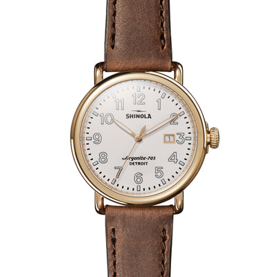 Shinola The Runwell 41mm Tan Leather Cream Dial Unisex Watch - S0120077934