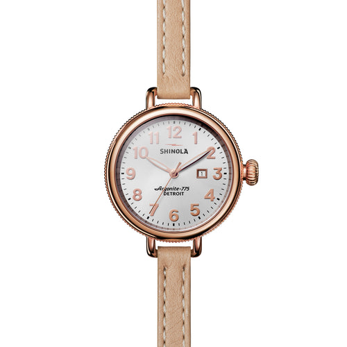 Shinola The Birdy Silver Dial Double Wrap Leather Strap 34mm Ladies Watch - S0110000256