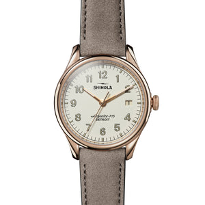 Shinola Vinton 38mm Rose Gold Ivory Gray Leather White Dial Ladies Watch - S0120141284
