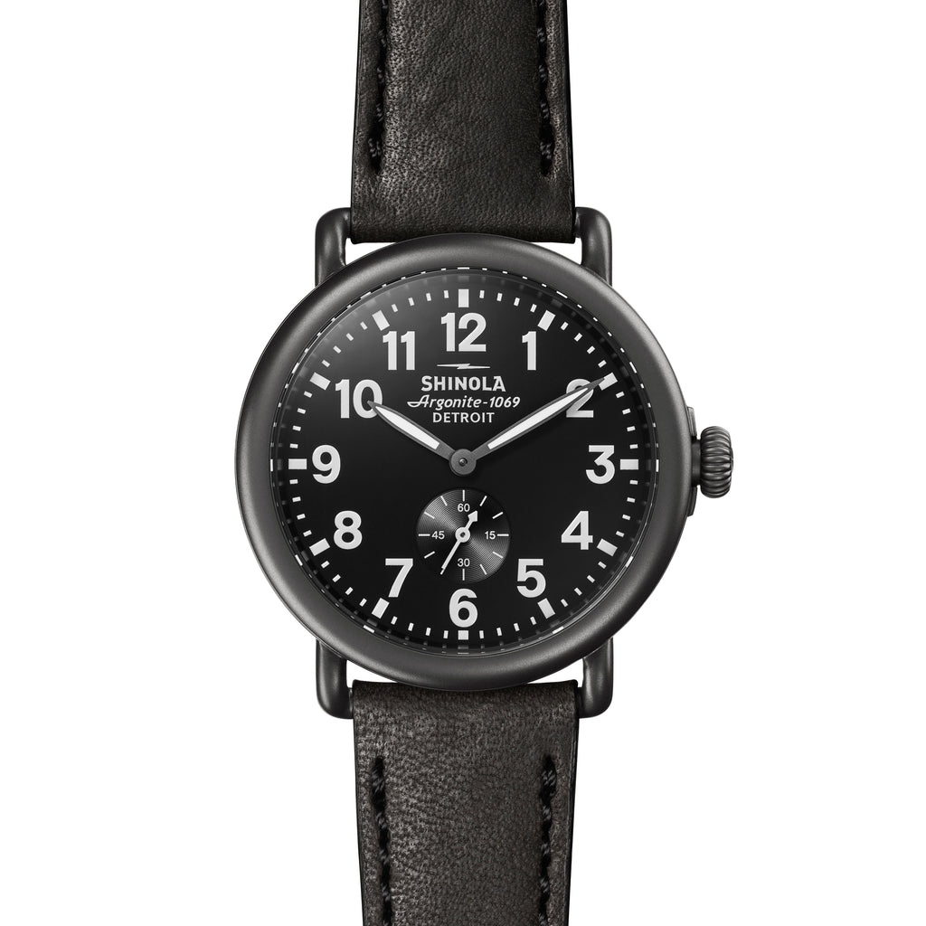 Shinola The Runwell 41mm Gunmetal Black Leather Mens Watch - S0120077935