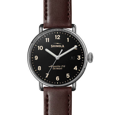 Shinola The Canfield Brown Leather Black Dial Mens Watch 43mm - S0120001939