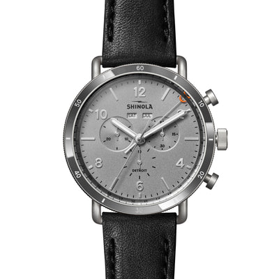 Shinola The Canfield Sport Black Leather Chrono Silver Dial Mens Watch 45mm - S0120141500