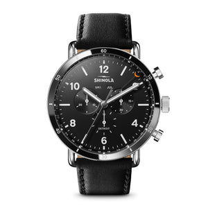 Shinola The Canfield Sport Mens Watch Black Leather Black Dial Chronograph 45mm - S0120089889