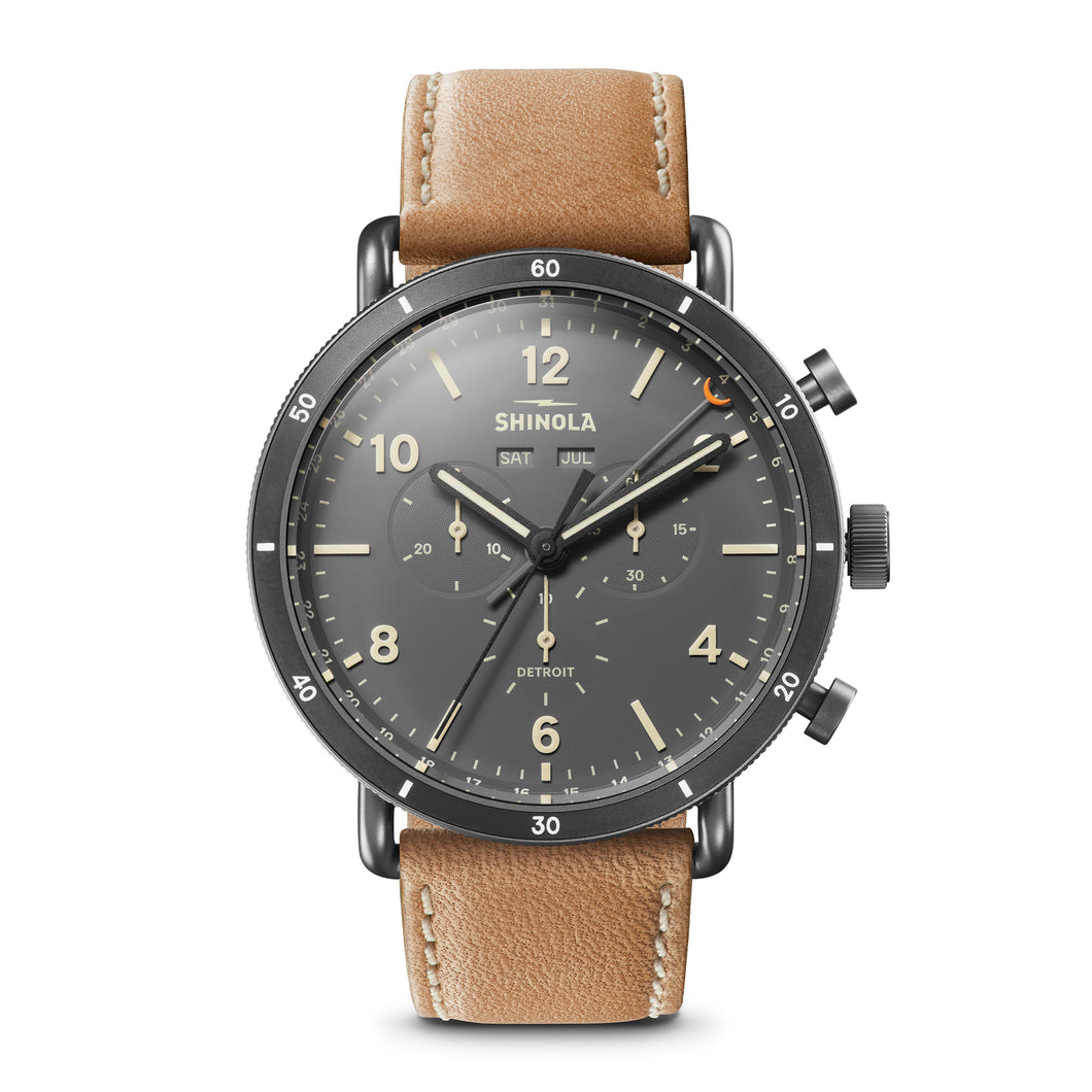 Shinola The Canfield Sport 45mm Gray Dial Brown Leather Strap Mens Watch - S0120089891