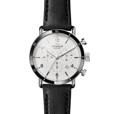Shinola The Canfield Sport 40mm White Dial with Black Leather Unisex Watch - S0120089888