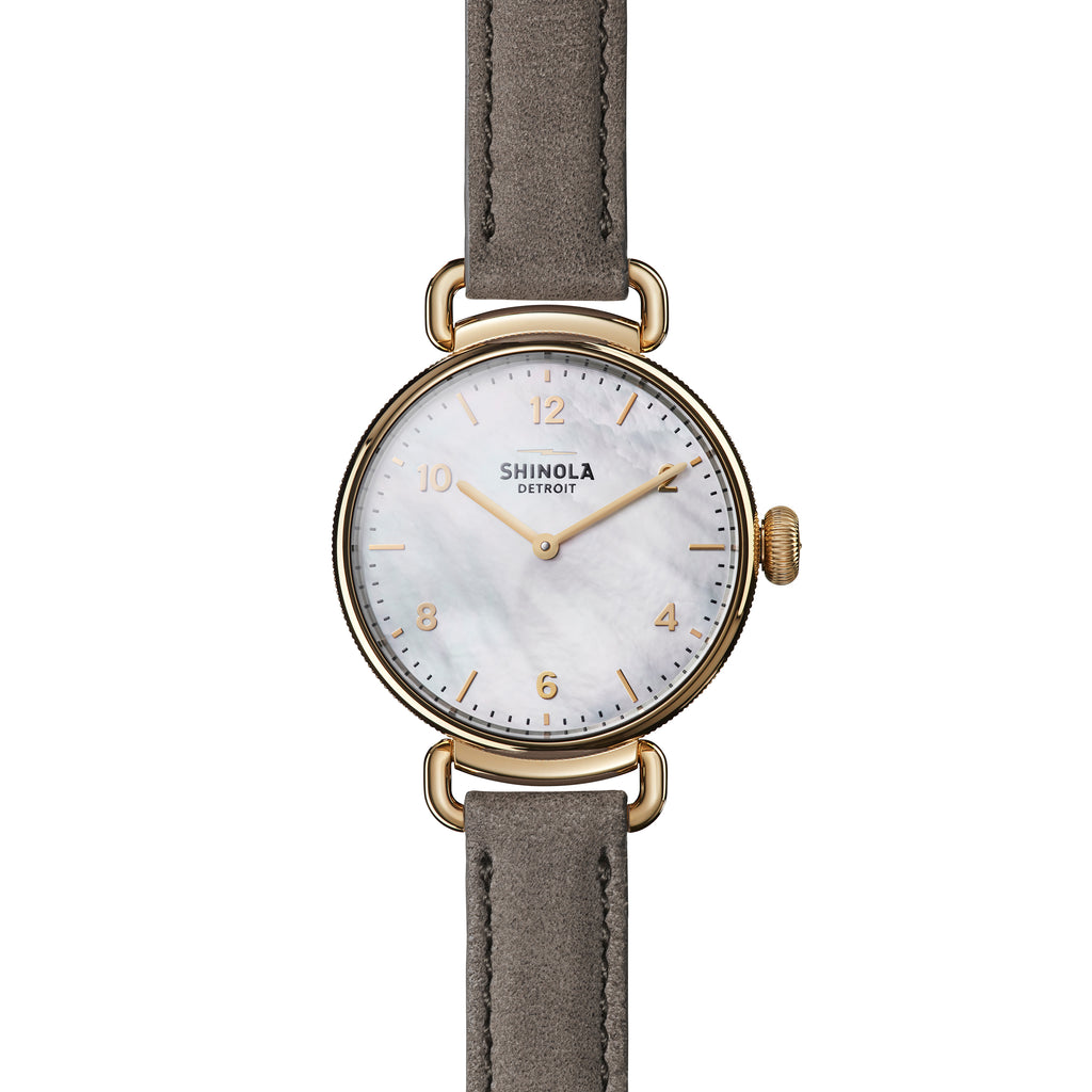 Shinola The Canfield 32mm Mother of Pearl Dial Gray Leather Rose Gold Ladies Watch - S0120018679
